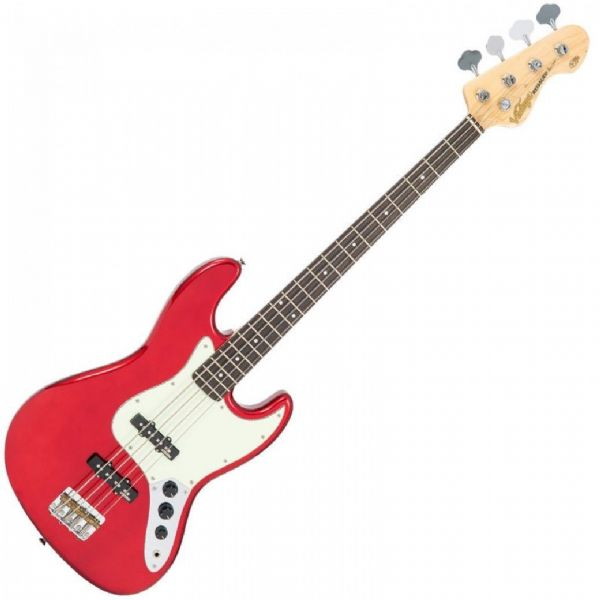 VINTAGE VJ74CAR VJ74 REISSUED BASS GUITAR - CANDY APPLE RED - New